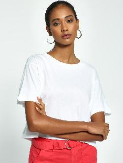 KOOVS Basic Crew Neck Crop T-Shirt