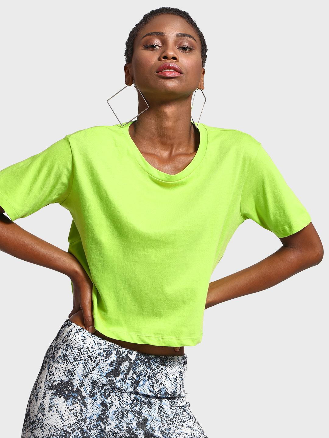 KOOVS Green Round Neck Cropped T-Shirt 1