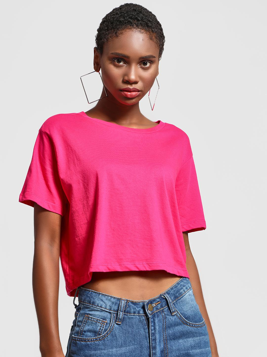 KOOVS Pink Round Neck Cropped T-Shirt 1