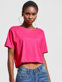 KOOVS Round Neck Cropped T-Shirt