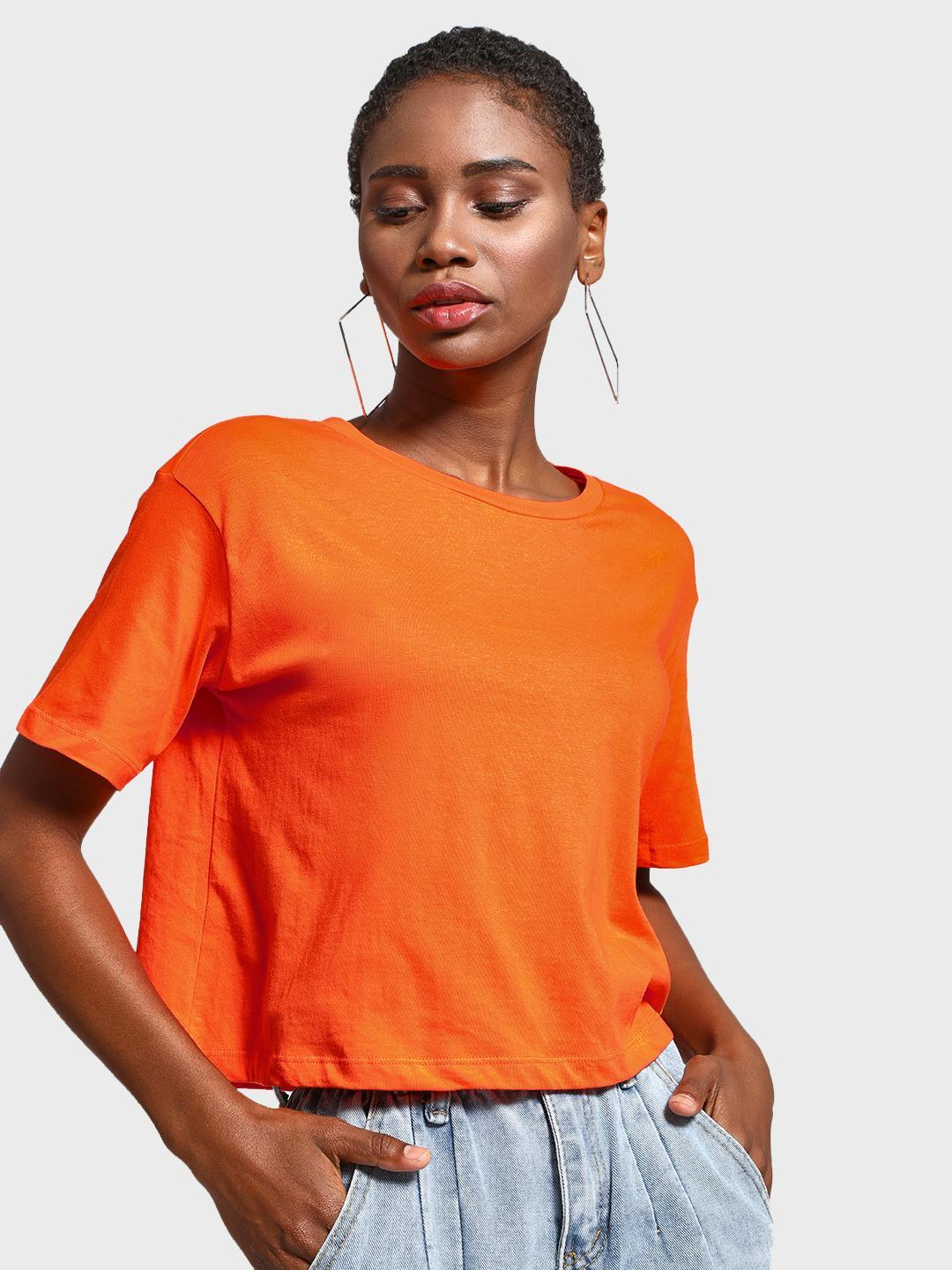 KOOVS Orange Round Neck Cropped T-Shirt 1