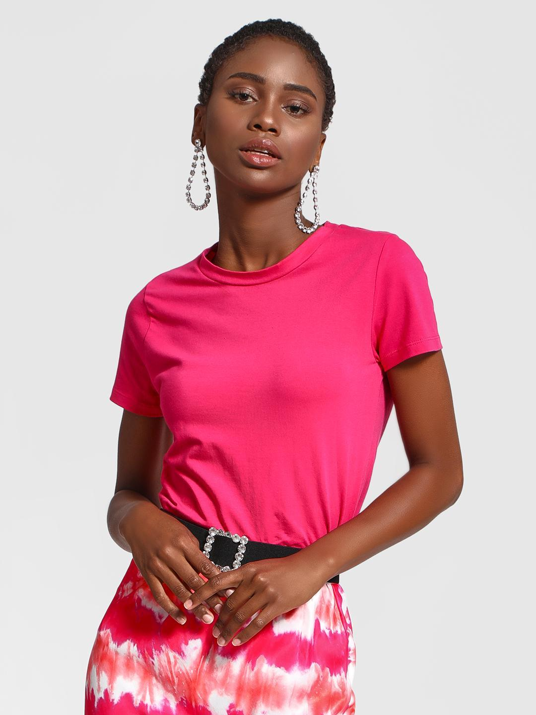 KOOVS Pink Basic Round Neck T-Shirt 1