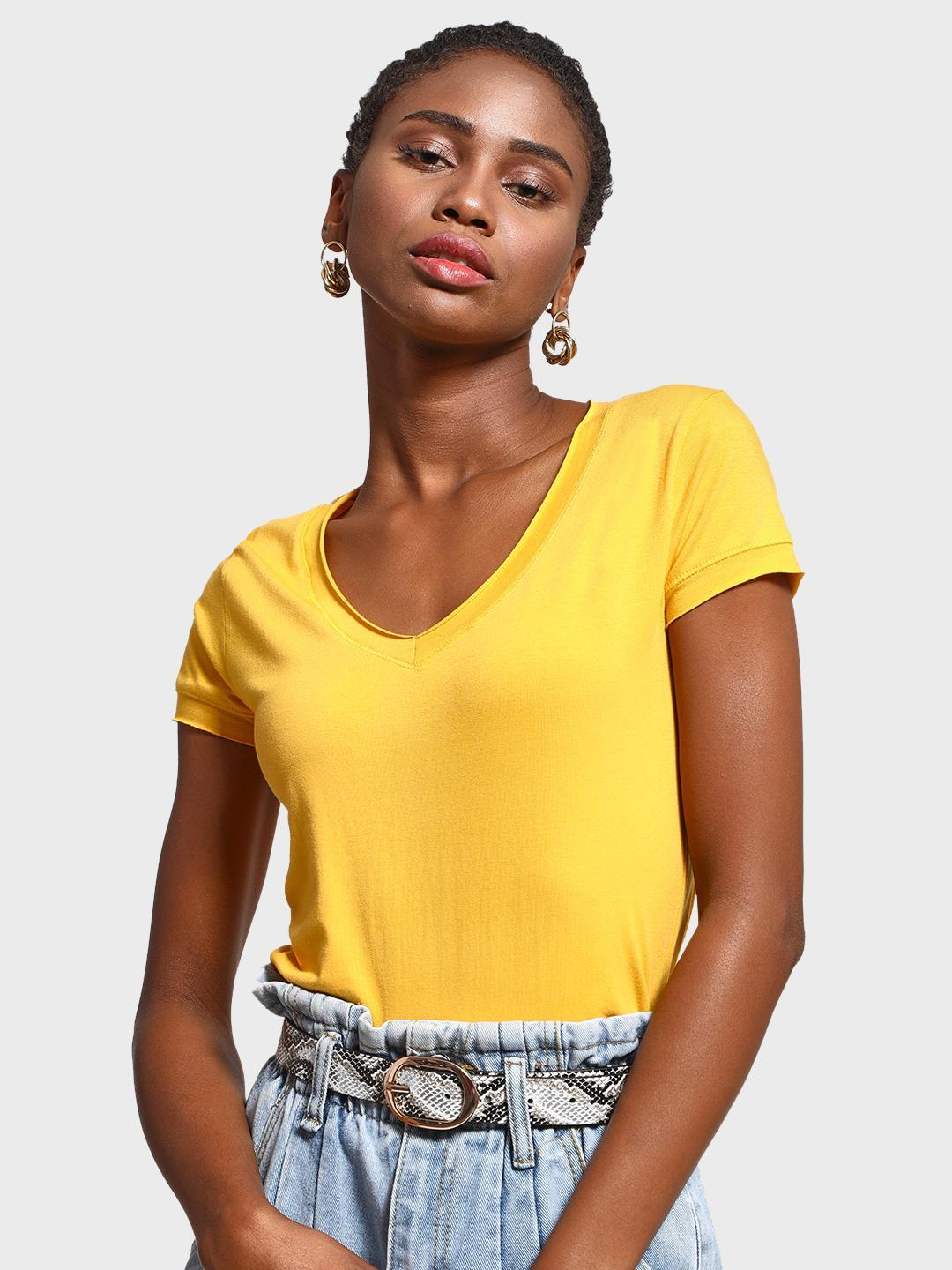 KOOVS Yellow Basic V-Neck Slim T-Shirt 1