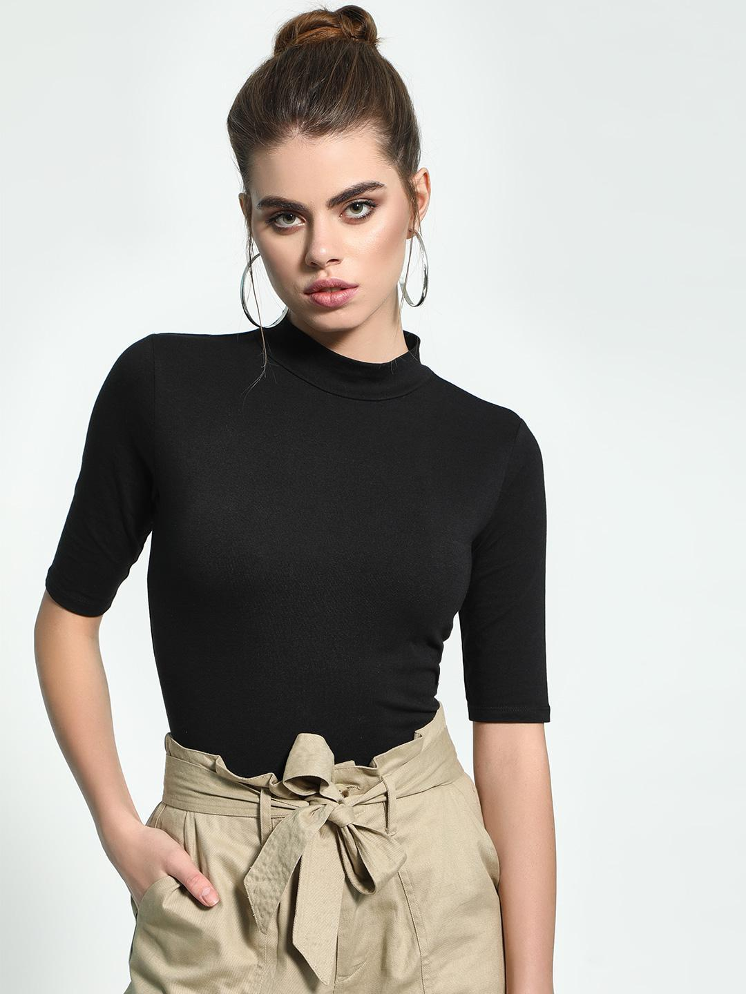 KOOVS Black Basic High Neck Bodysuit 1