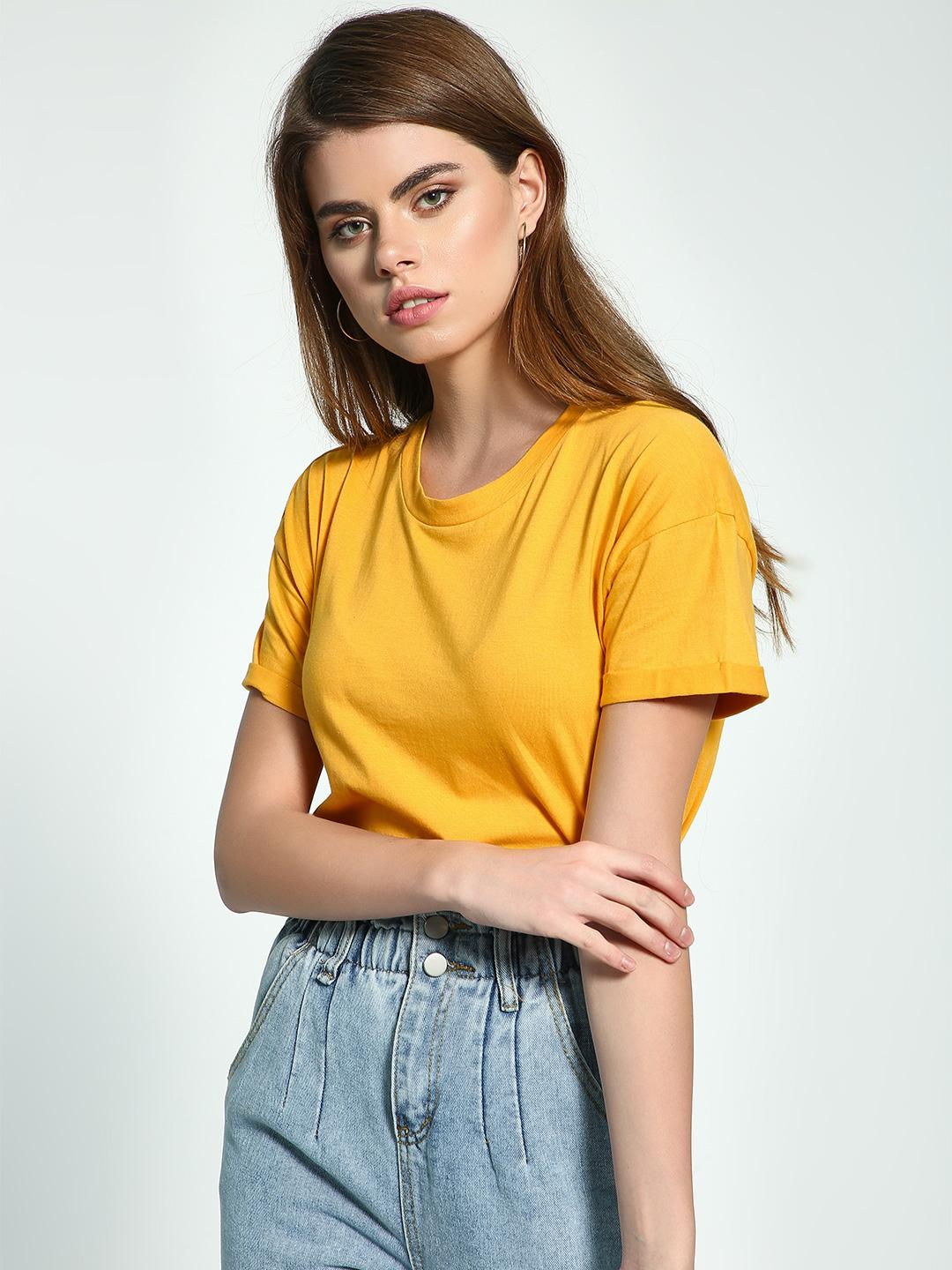 KOOVS Yellow Basic Round Neck Boyfriend T-Shirt 1