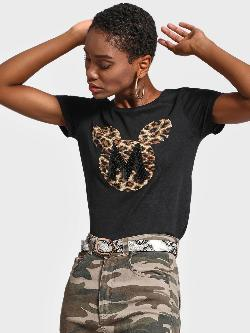 Free Authority Mickey Animal Print Sequinned T-Shirt
