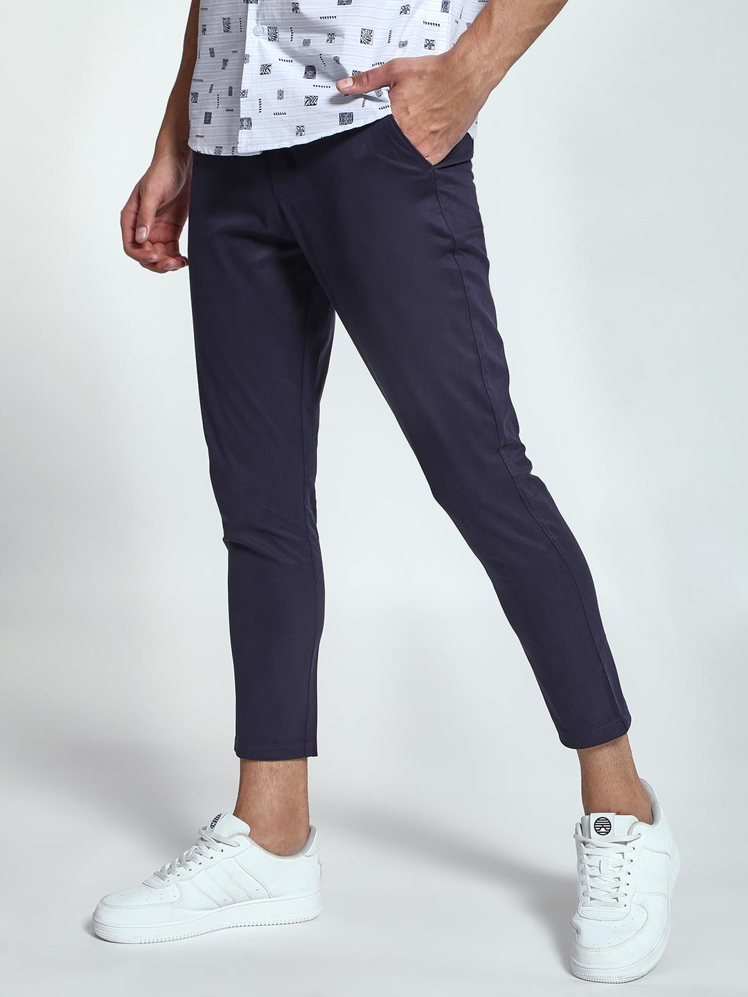 KOOVS Navy Basic Cropped Skinny Chinos 1