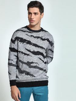 KOOVS Tiger Stripe Oversized Sweater