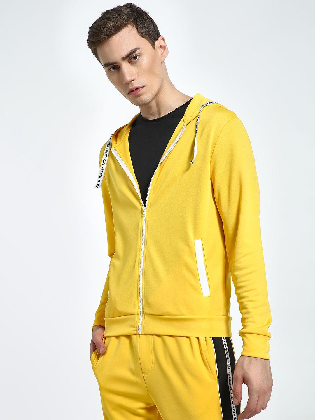 K ACTIVE Yellow KOOVS Text Tape Hooded Jacket 1