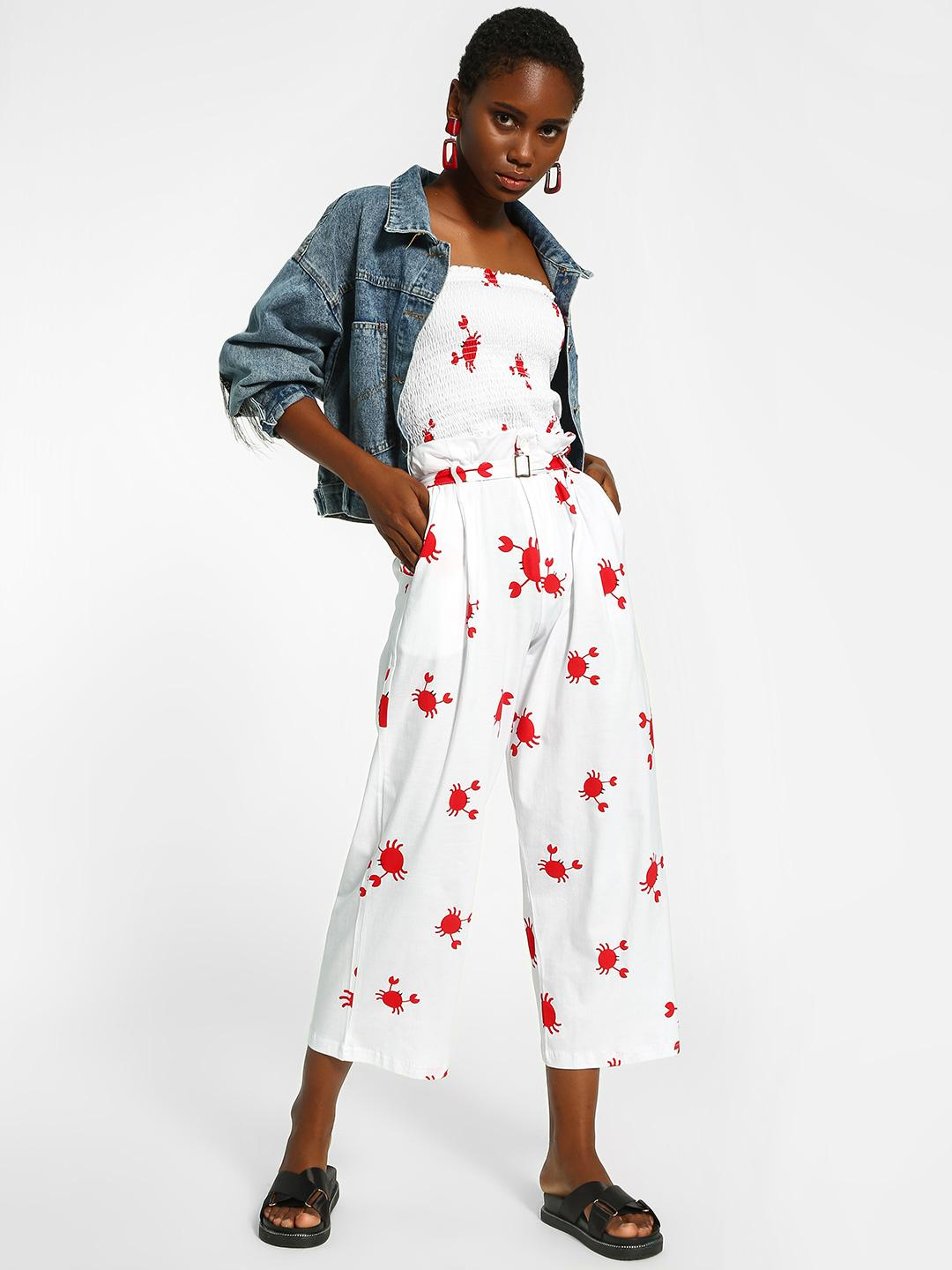 Spring Break White Crab Print Cropped Trousers 1