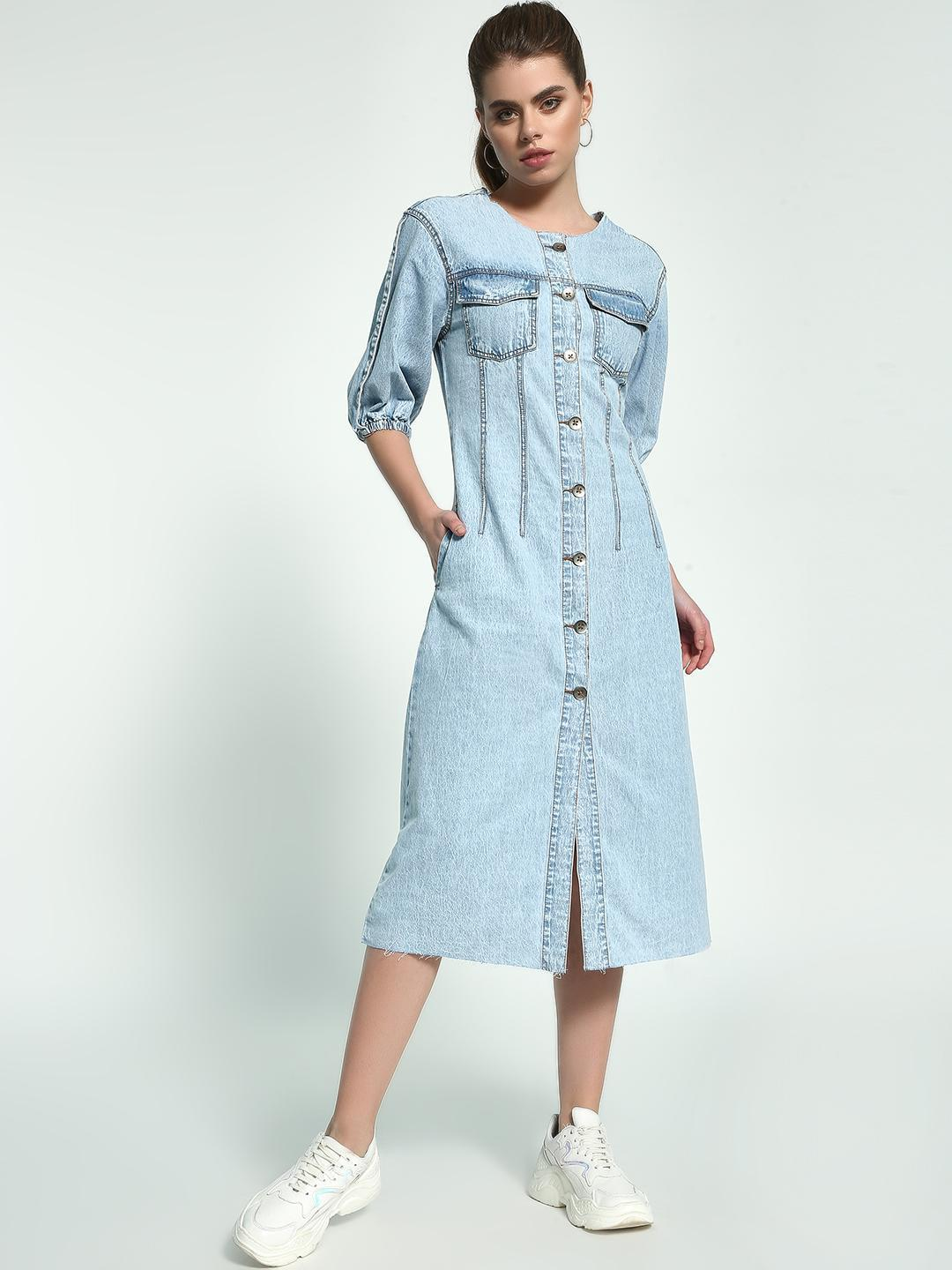 K Denim Light Blue Acid Wash Utility Denim Dress 1
