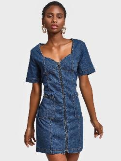 K Denim KOOVS Zip-Up Denim Dress
