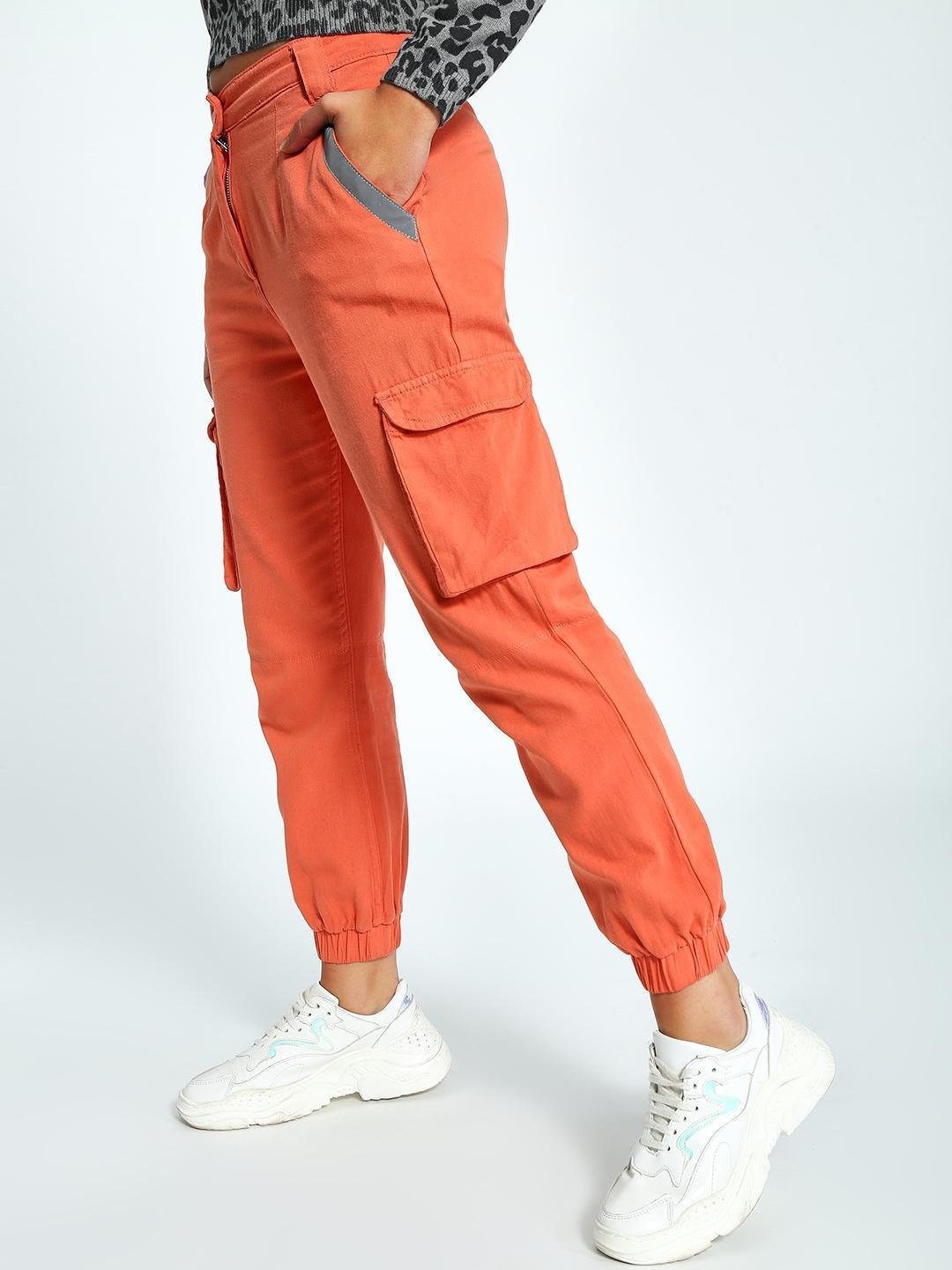 K Denim Orange KOOVS Reflective Utility Pocket Denim Joggers 1