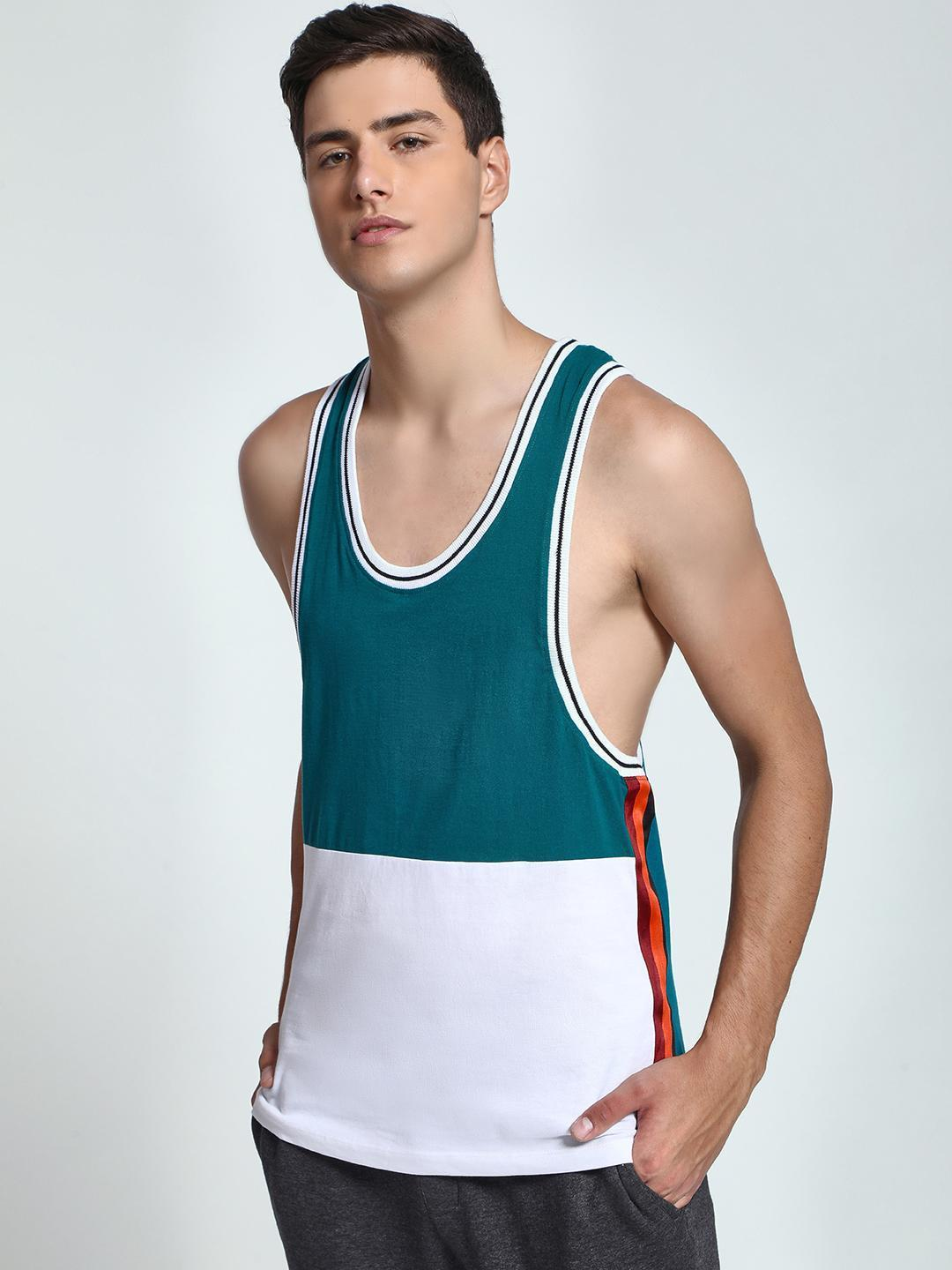 KOOVS Multi Colour Block Side Tape Vest 1