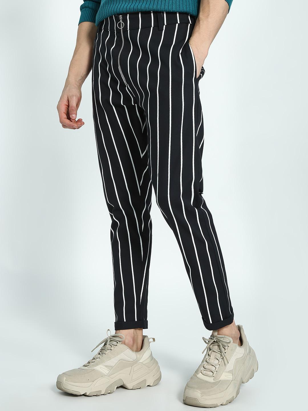 KOOVS Black Vertical Stripe Slim Chinos 1