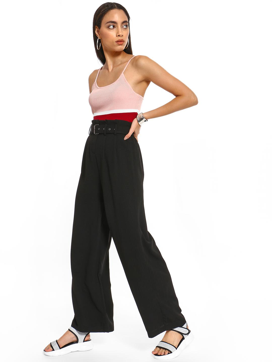 Iris Black Paperbag Belted Waist Flared Trousers 1