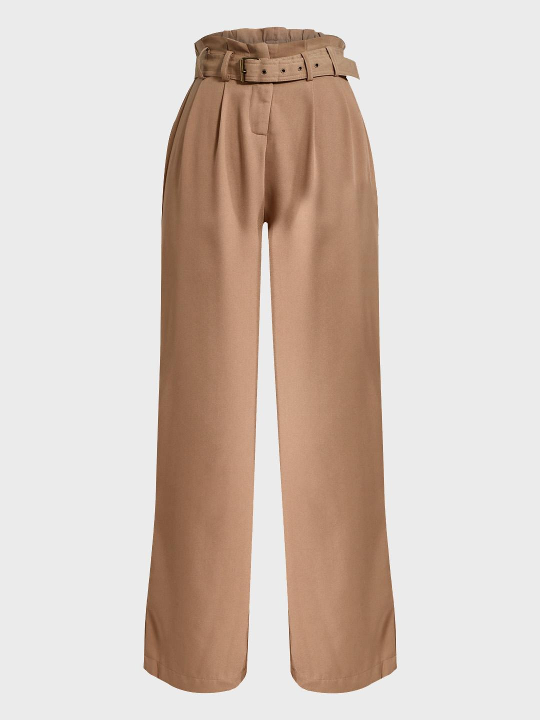 Iris Brown Paperbag Belted Waist Flared Trousers 1