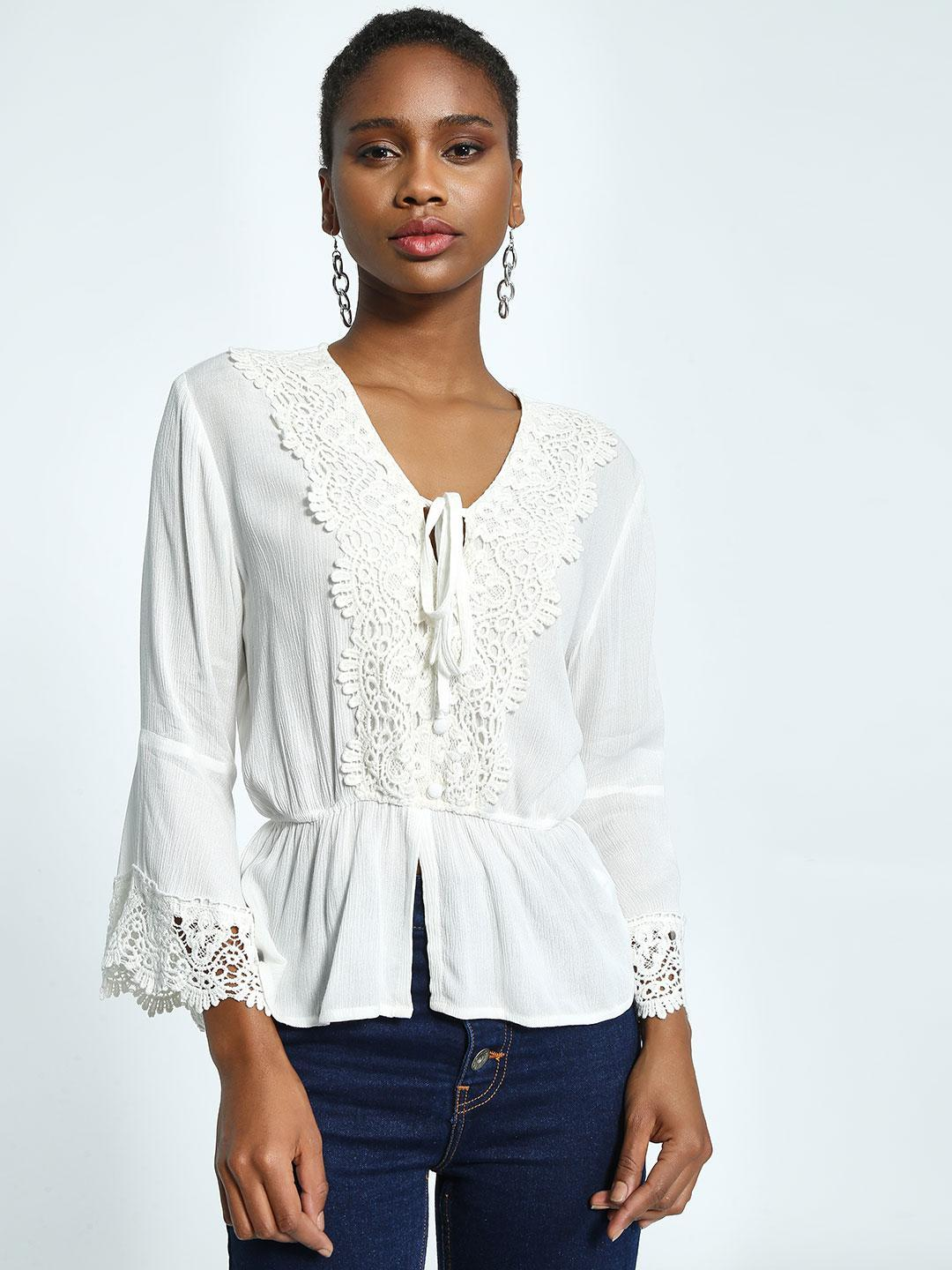 KOOVS White Crochet Lace Trumpet Sleeve Top 1