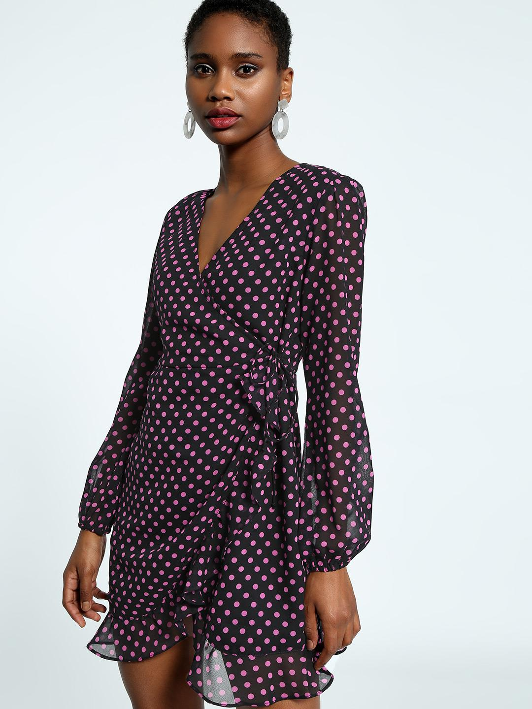 KOOVS Multi Polka Dot Wrap Shift Dress 1