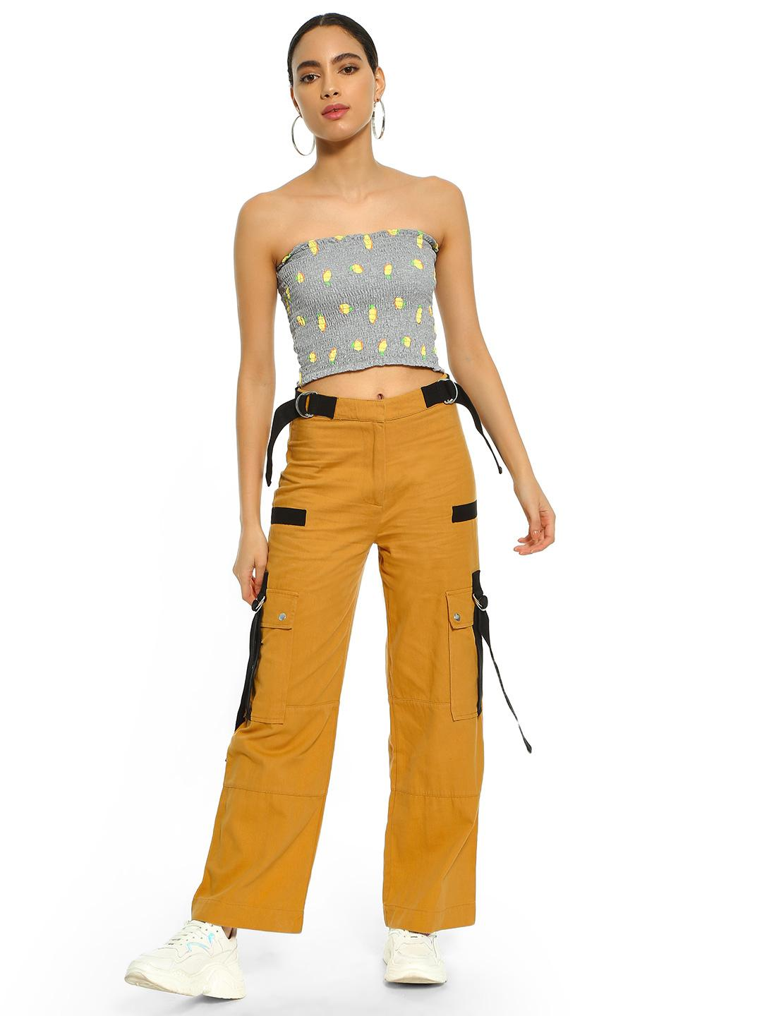 KOOVS Yellow Utility Pocket Flared Pants 1