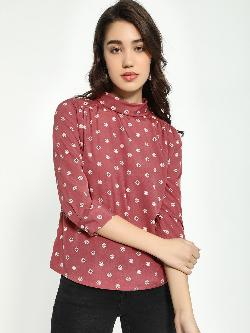 AND Dot Print High-Neck Blouse