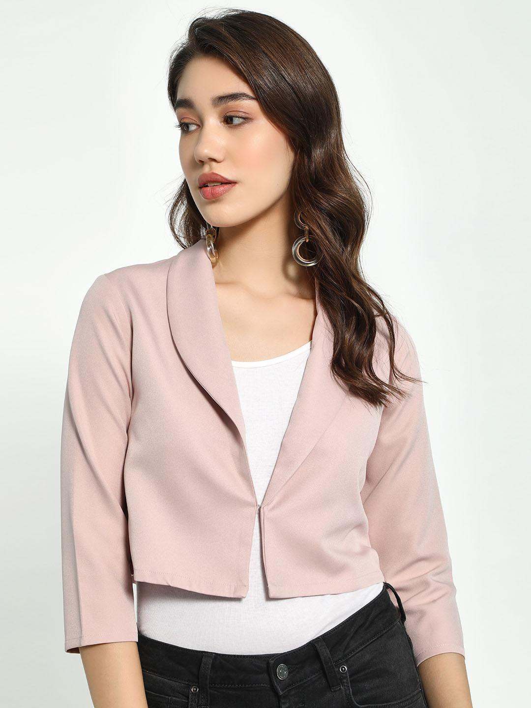 AND Blush Lapel Collar Cropped Blazer 1