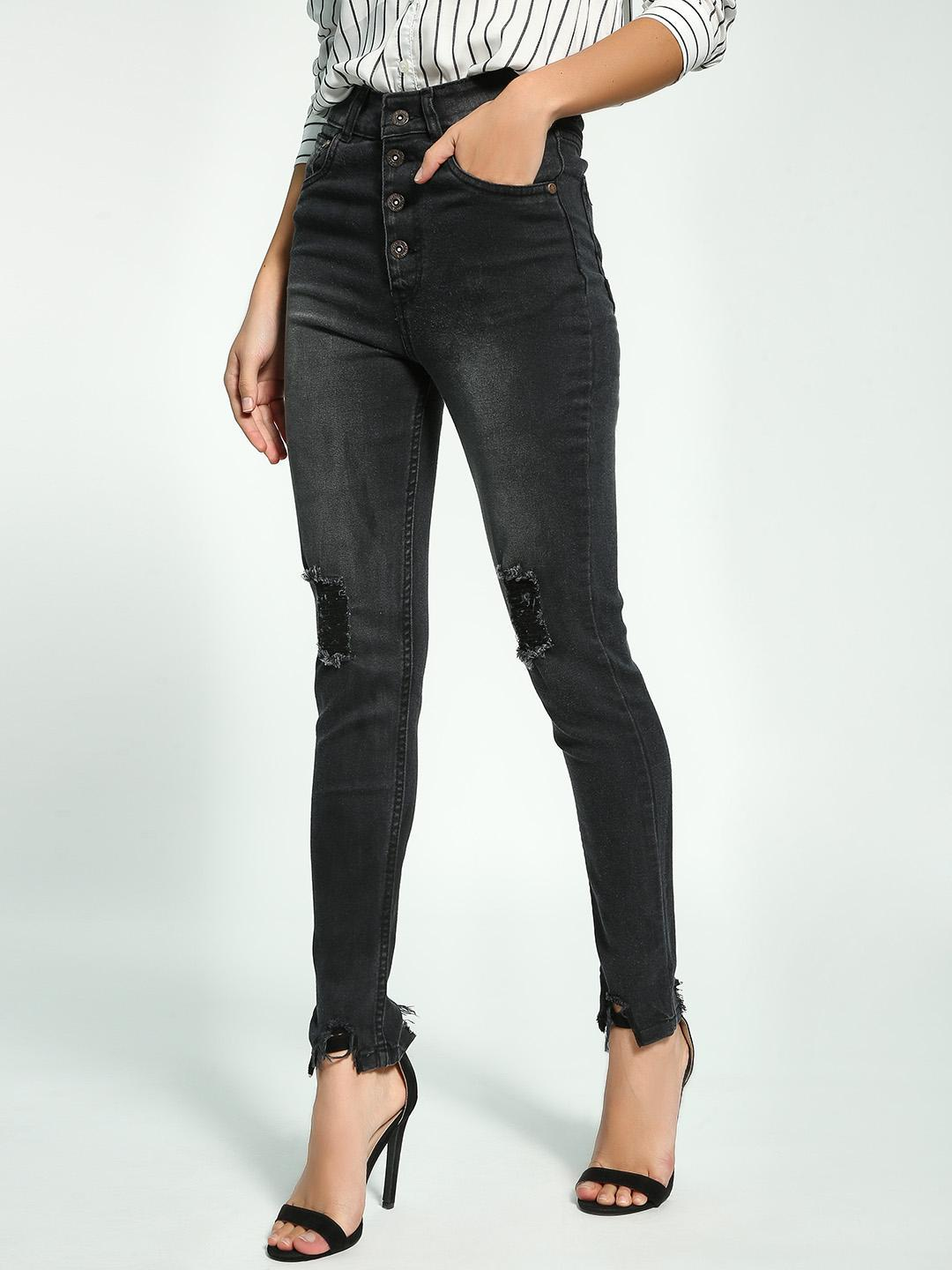 K Denim Black KOOVS Chewed Hem Skinny Jeans 1