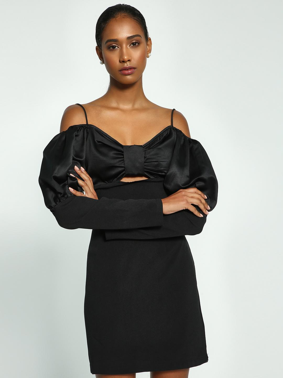 Ri-Dress Black Bow Mutton Sleeve Cold Shoulder Dress 1