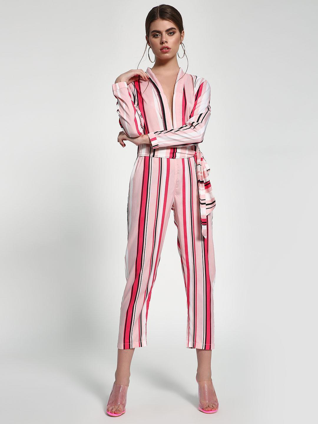 Closet Drama Multi Vertical Stripe Belted Waist Jumpsuit 1