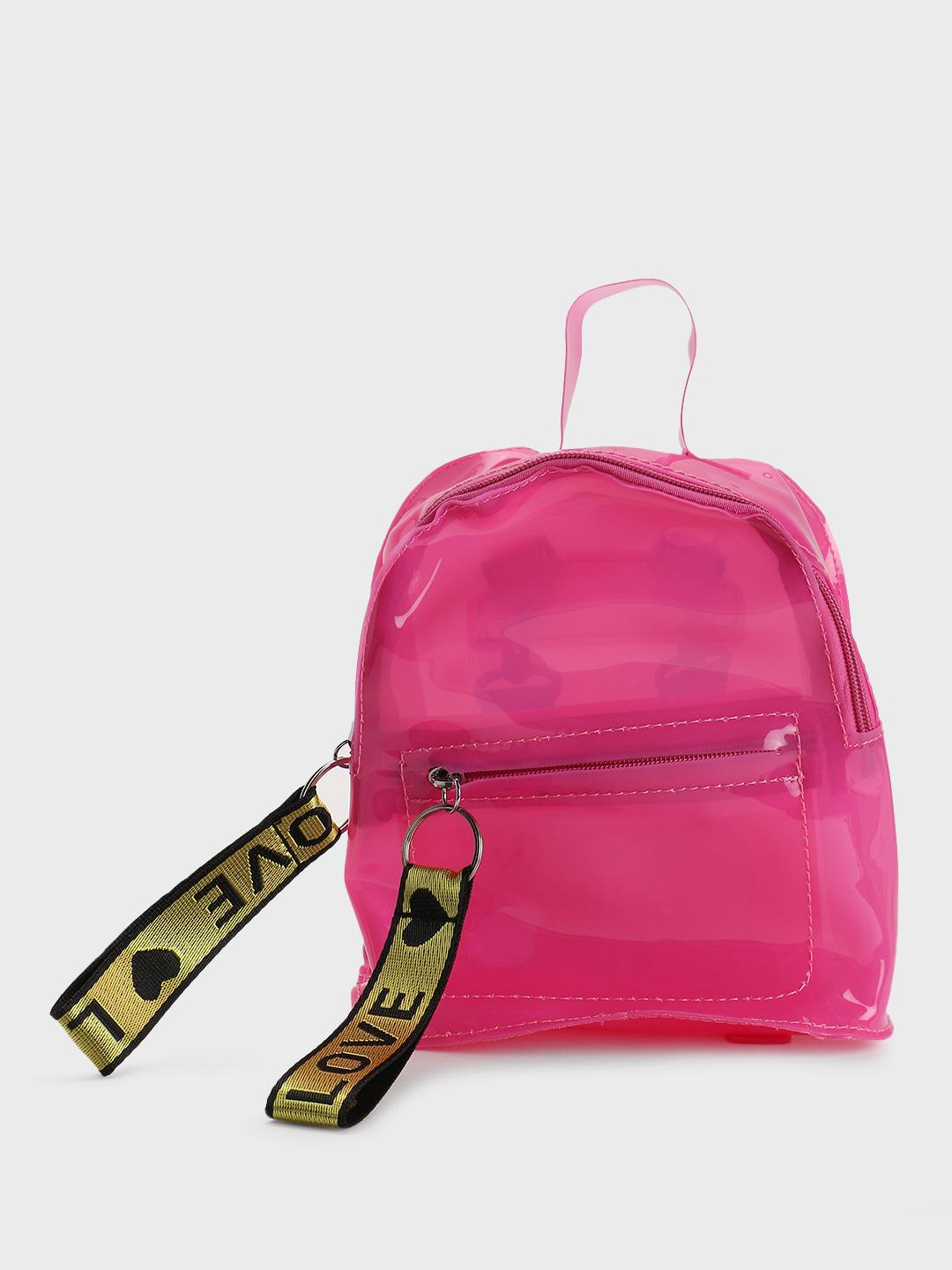 Origami Lily Pink Text Zipper Perspex Backpack 1