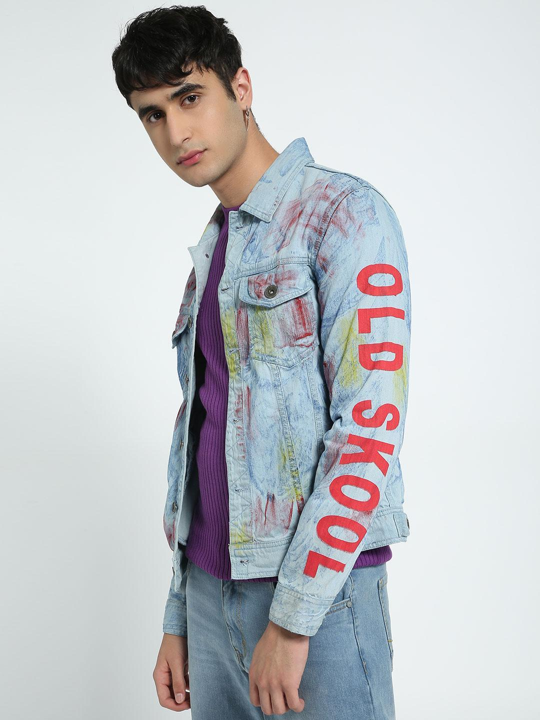 K Denim Multi KOOVS Graffiti Denim Trucker Jacket 1