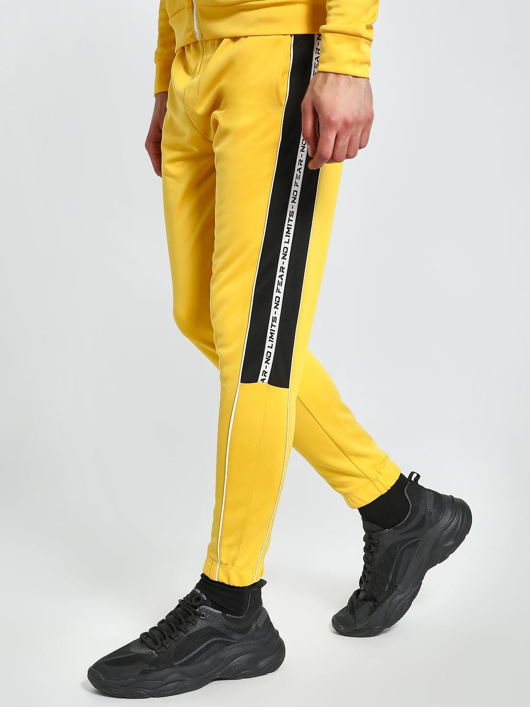 K ACTIVE Yellow KOOVS Text Side Tape Joggers 1