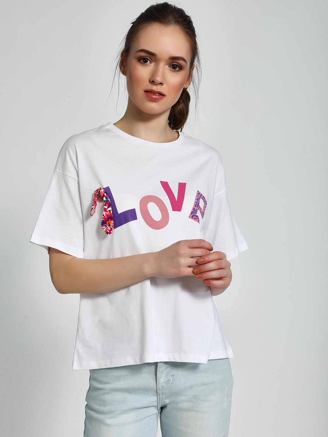 Trendyol White Love Placement Print T-Shirt 1