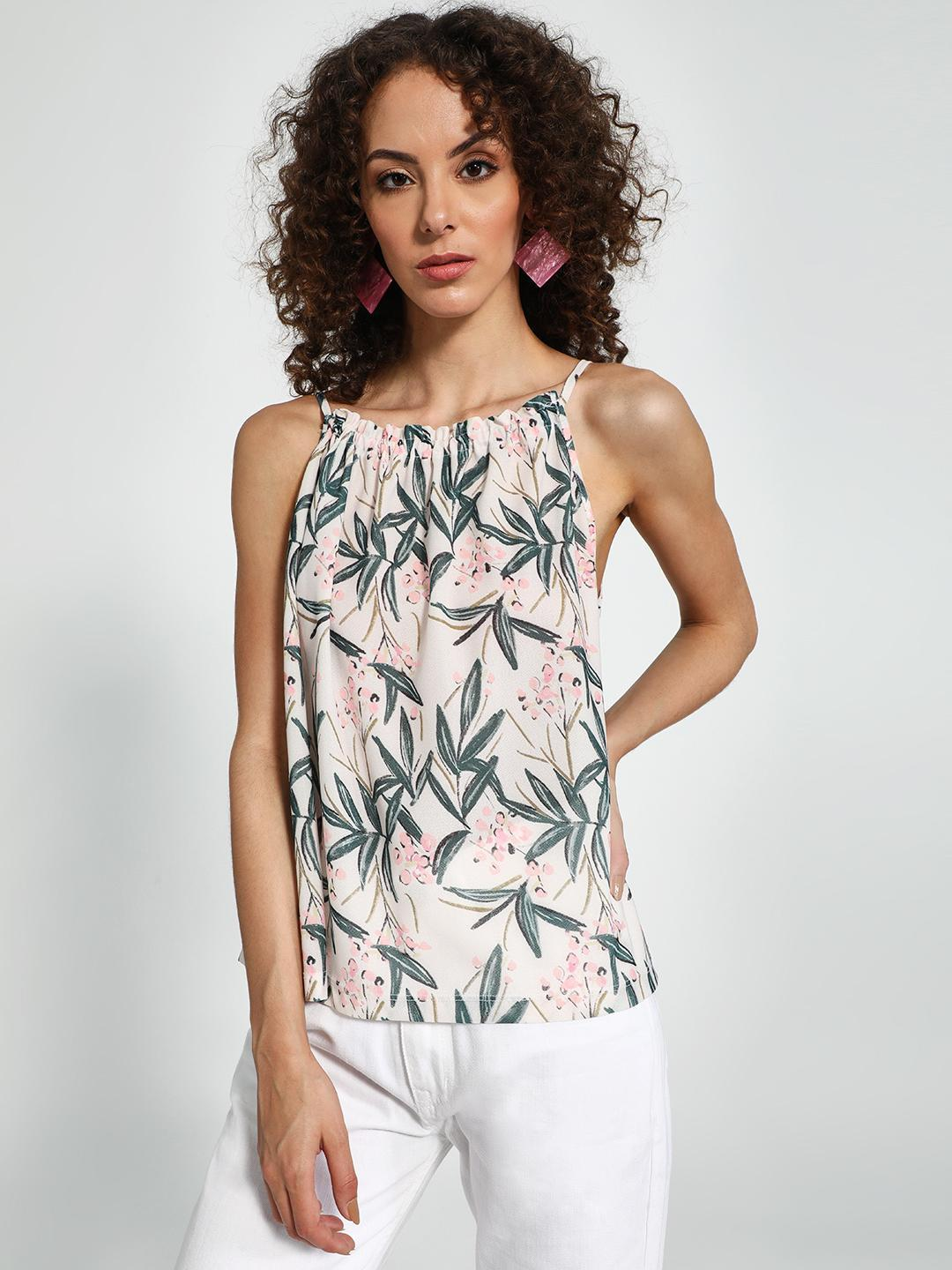 Trendyol Multi Tropical Palm Print Strappy Top 1