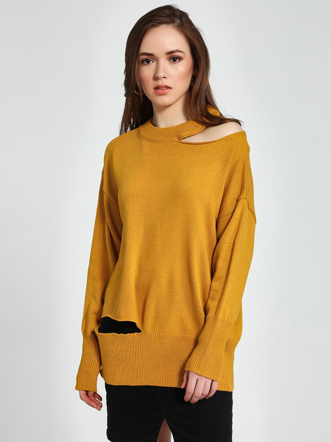 Trendyol Yellow Cut-Out Detail Oversized Jumper 1