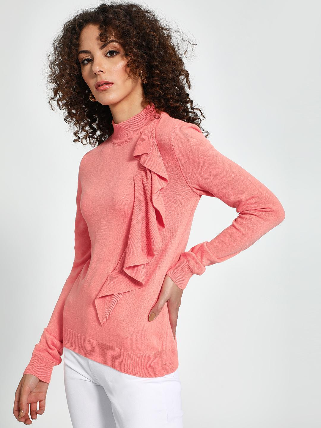Trendyol Pink Turtle Neck Ruffled Pullover 1