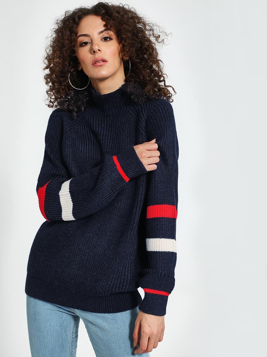 Trendyol Blue Turtle Neck Striped Sleeve Pullover 1