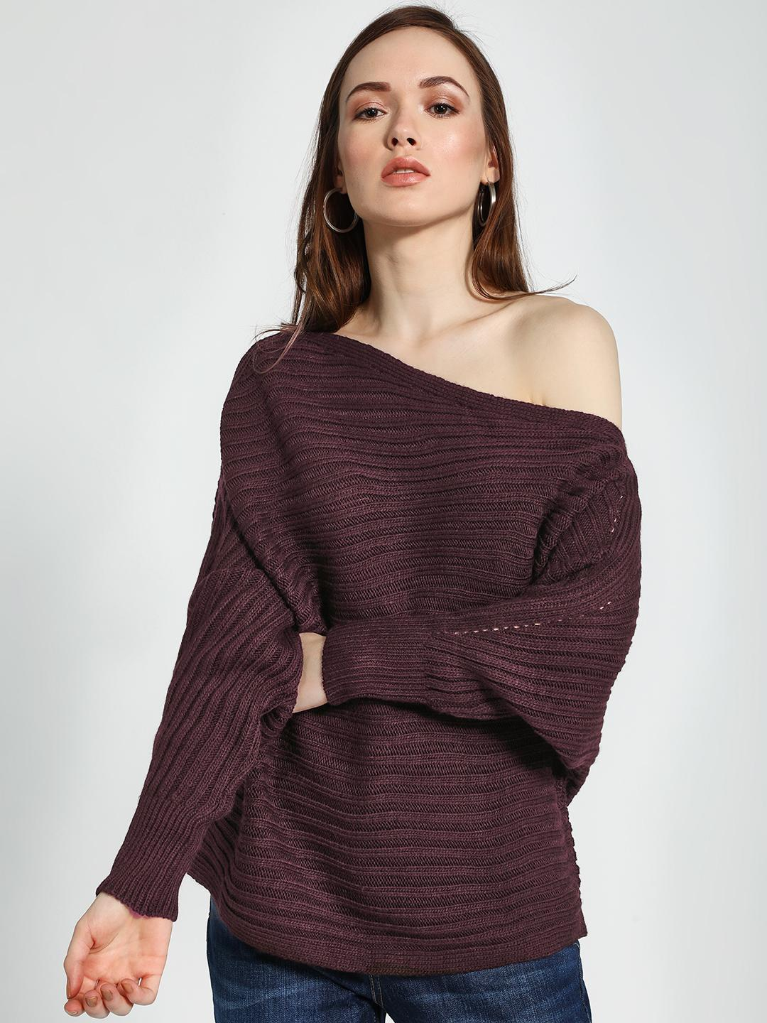 Trendyol Brown Balloon Sleeve Oversized One-Shoulder Pullover 1