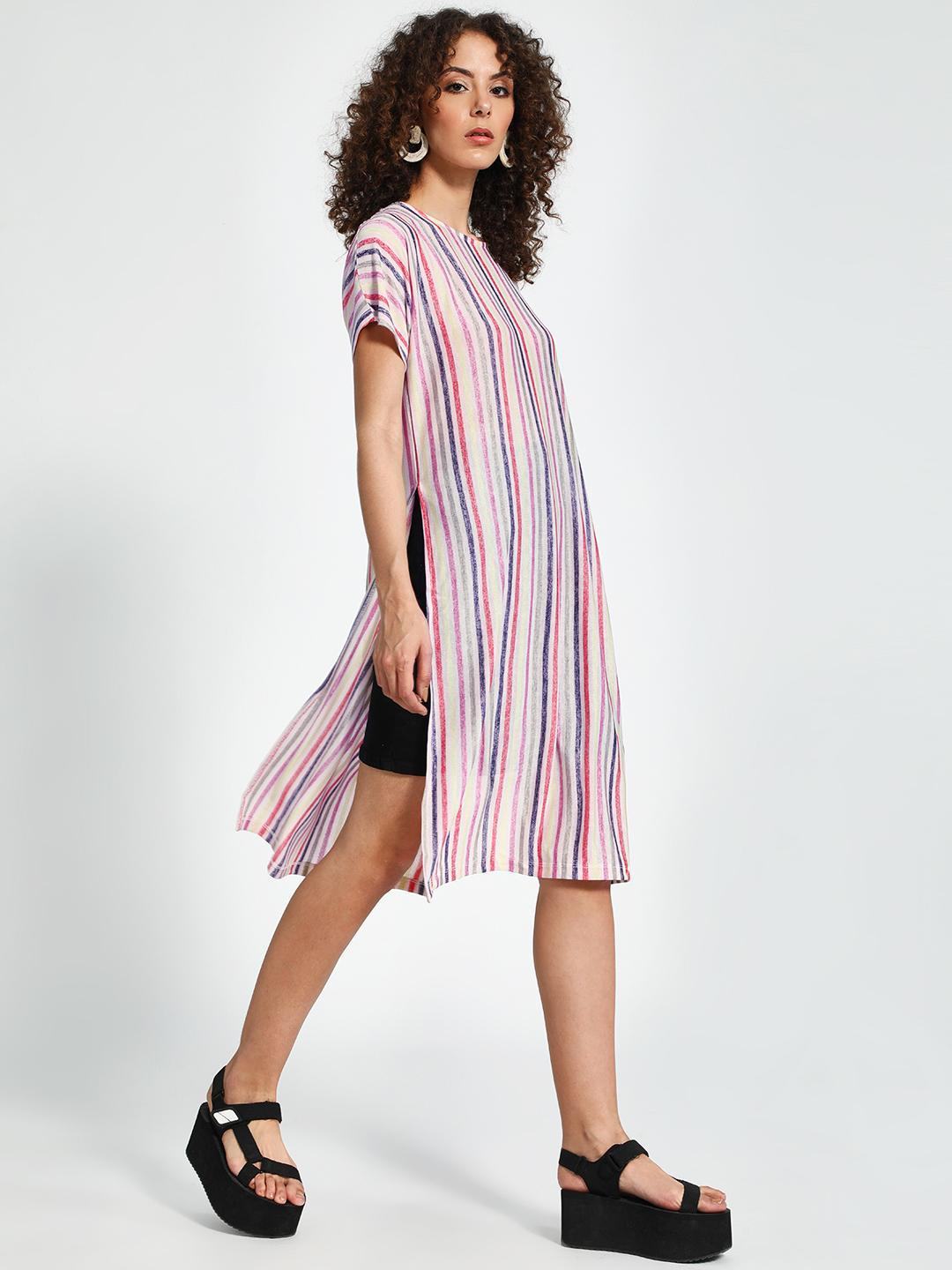 Trendyol Multi Vertical Stripe Side-Split Tunic Top 1