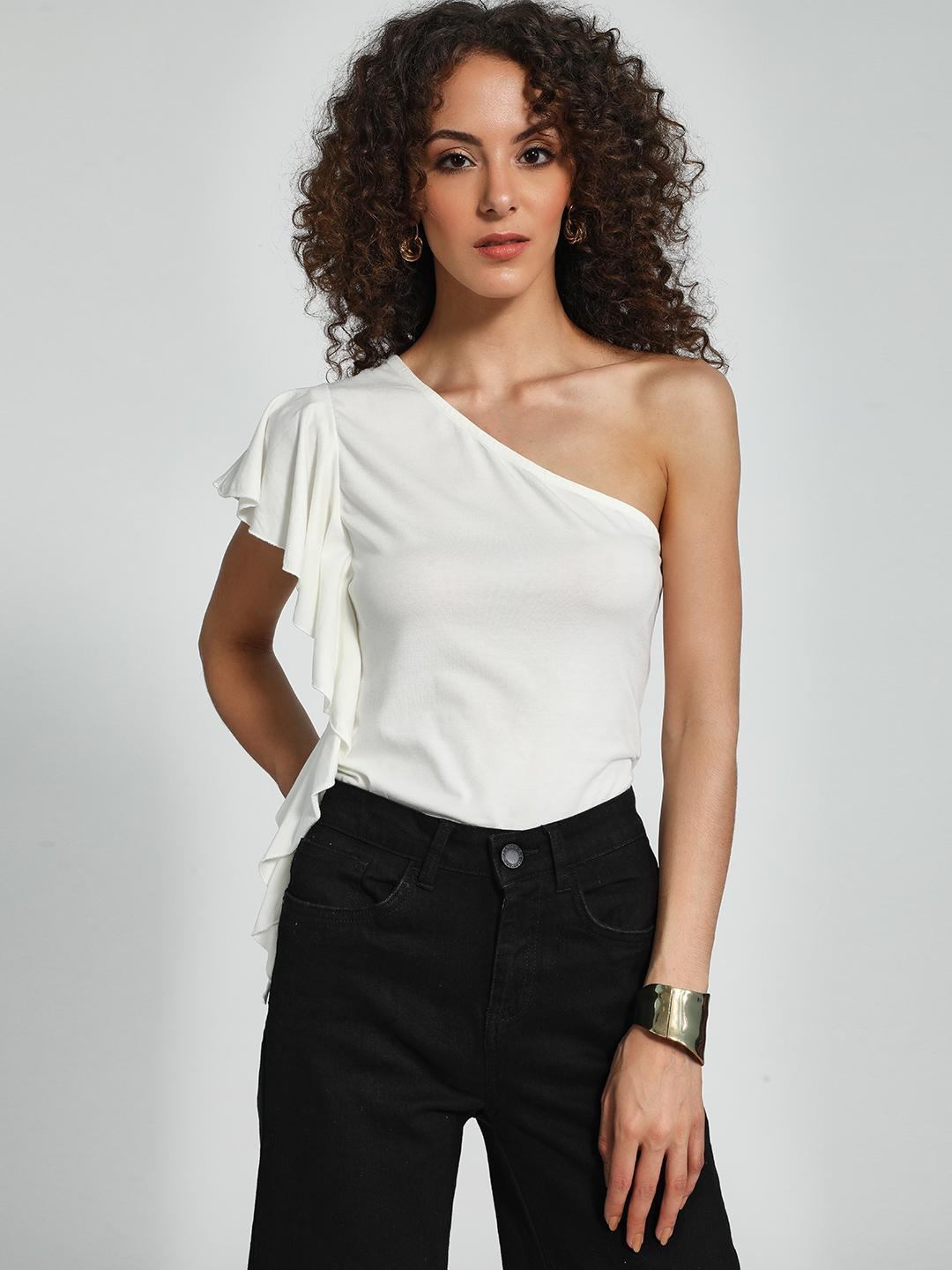 Trendyol Off White One-Shoulder Ruffle Top 1