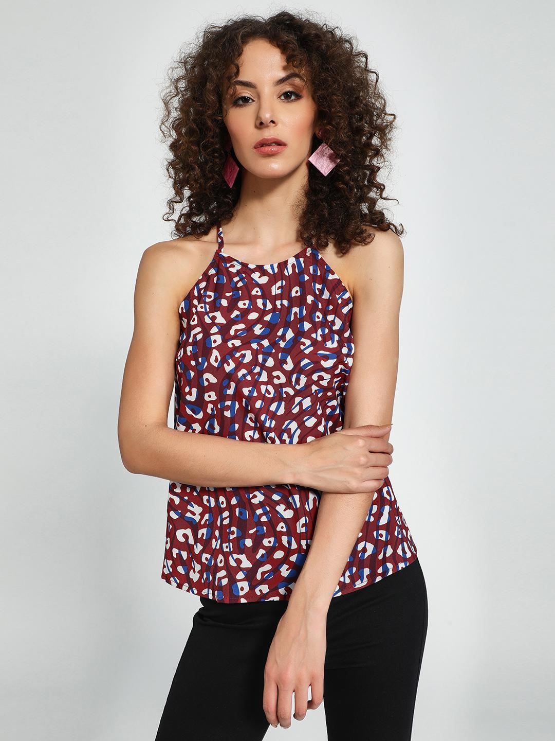 Trendyol Multi Abstract Print Strappy Top 1