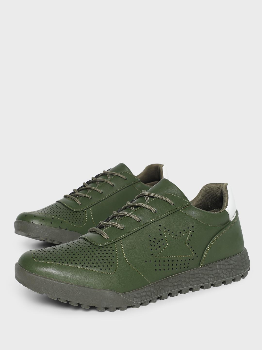 KOOVS Green Perforation Star Cleated Sole Sneakers 1