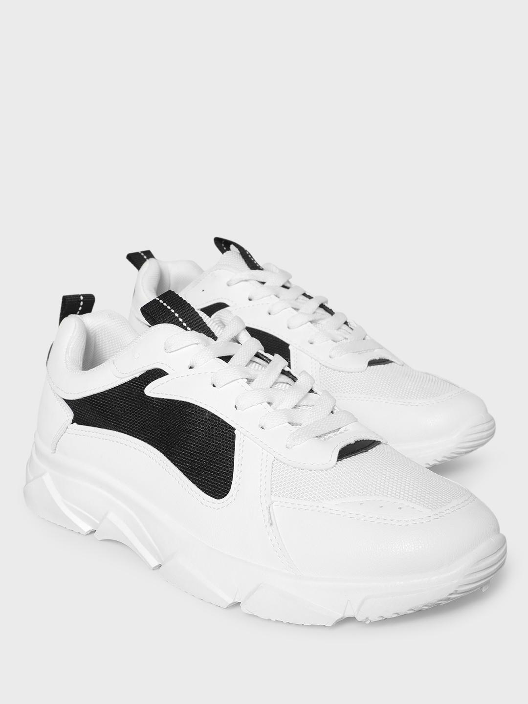KOOVS White Mesh Panel Solid Chunky Sneakers 1