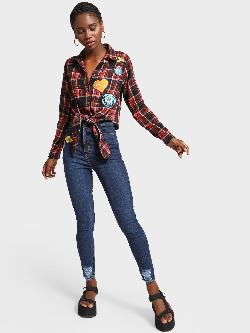 K Denim KOOVS Badge Ripped Hem Skinny Jeans