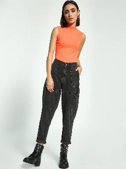 K Denim KOOVS Utility Pocket Mom Jeans