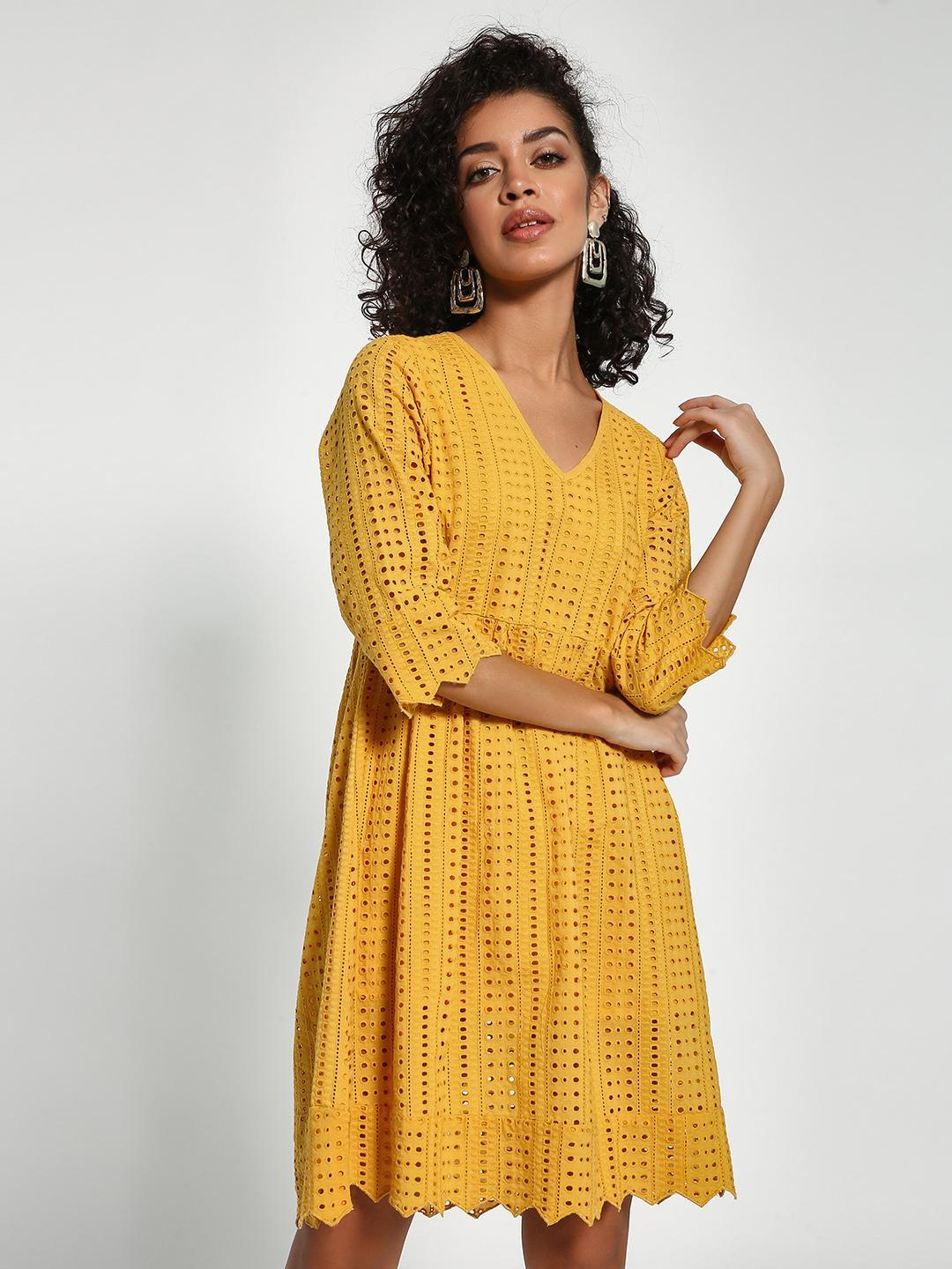 Sbuys Yellow V-Neck Broderie Shift Dress 1