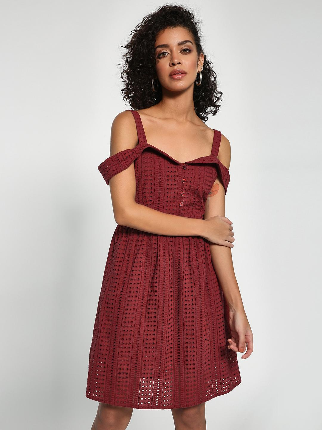Sbuys Maroon Broderie Cold Shoulder Skater Dress 1