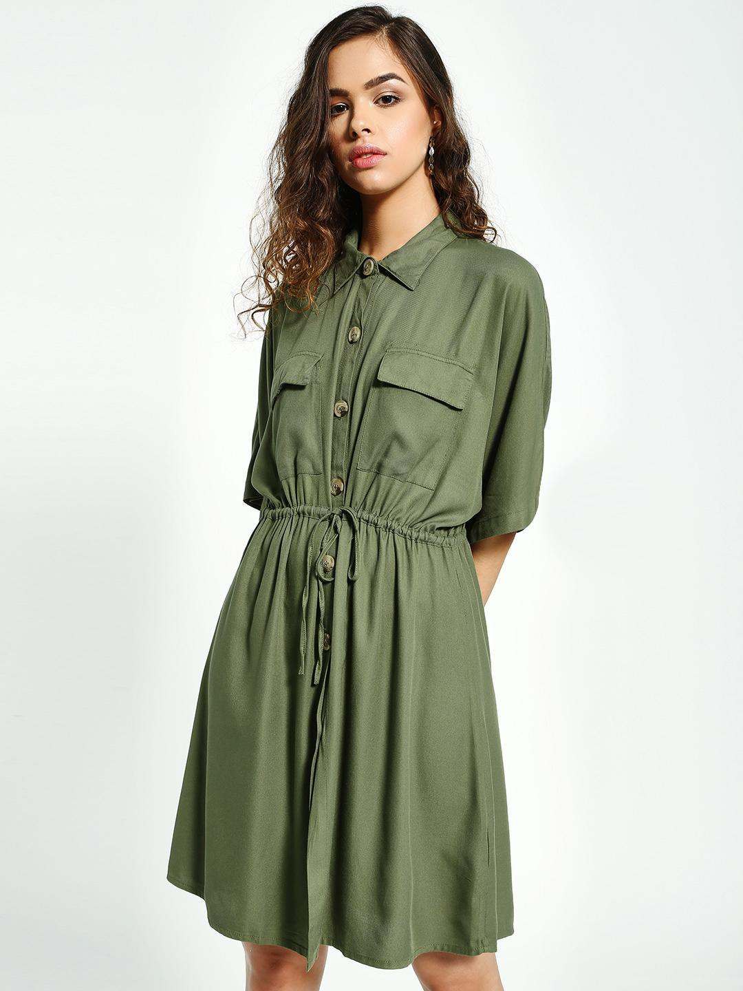 Sbuys Olive Button-Down Tie-Knot Shirt Dress 1