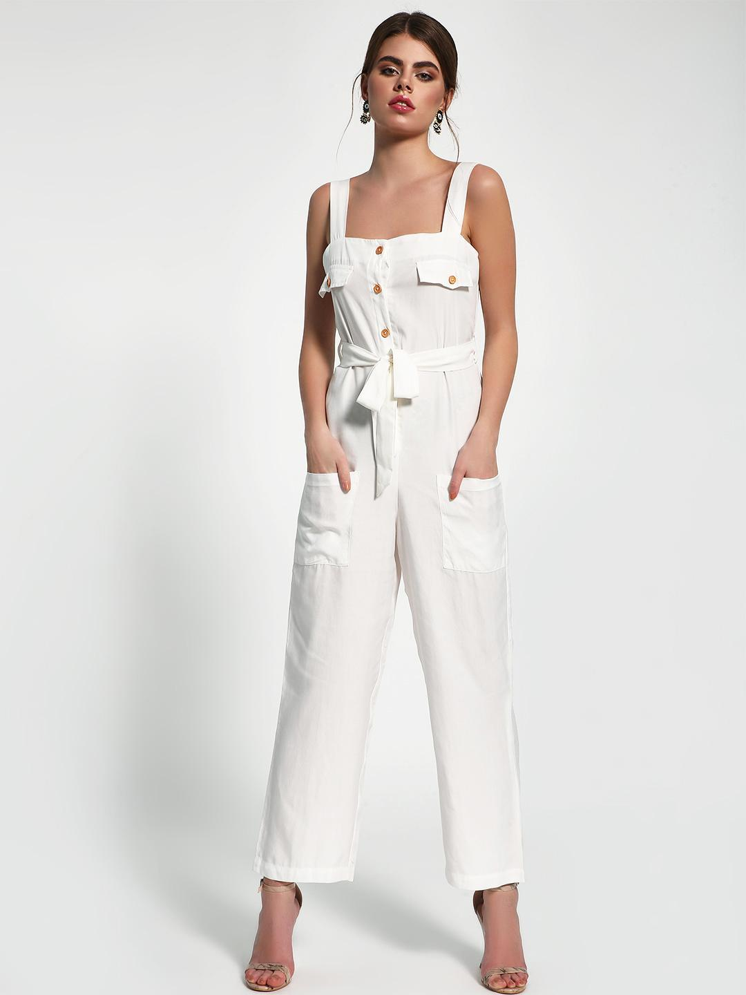 Sbuys White Button-Up Utility Belted Jumpsuit 1
