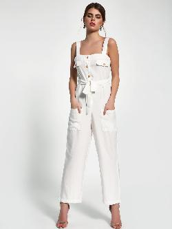 Sbuys Button-Up Utility Belted Jumpsuit